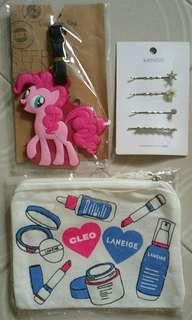 $3 Each ! Pony Luggage Tag , Miniso 4 Hair clips , wristlet purse pouch