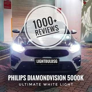 New Kia Cerato on HB3 philips diamondvision white car headlight bulb + installation