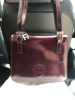 Aigner Vintage Long Handle Maroon Calf leather