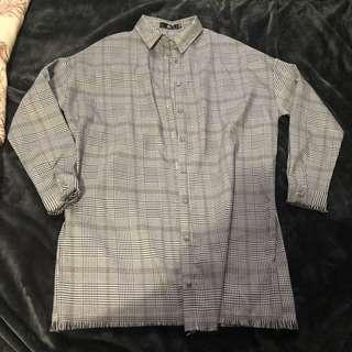 MISSGUIDED GREY CHECK JACKET/BUTTON UP DRESS SIZE 8