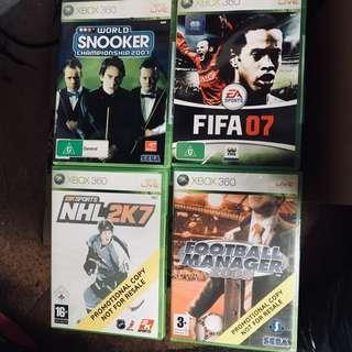Snooker, FIFA, Hockey & Football Xbox360 Games
