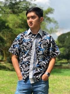 Short Sleeve Shirt Batik Andra (Blue)