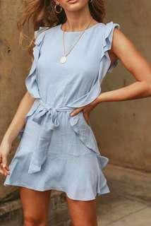 NEW 淺藍色連身裙 Ruffle Sleeves Dress Office Outfit Sky Blue