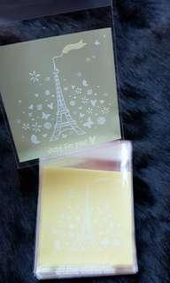 SALE 40pcs Mini Paris Eiffel Tower Thank You Design Self-Adhesive Souvenir Cookie or Candy Plastic Pouch 7cm