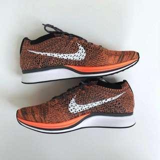 BRAND NEW Nike Flynit Racer Grey/Orange sz 6.5