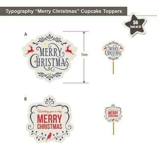 "Typography ""Merry Christmas"" Cupcake Topper"