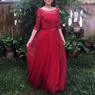 Red Sleeves Lace Dinner Dress [RENT]