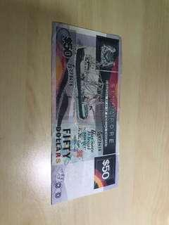 Vintage Antique Boat Series $50 SGD Note