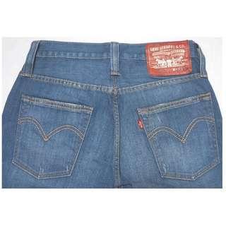 【跨年前賣場任2件減200】LEVIS 504 藍色 破壞 刷紋刷白 低腰直筒褲 28腰 (9成新)