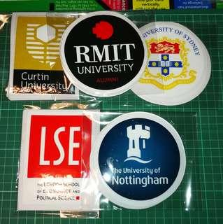 Static Cling Decals of Universities abroad. Alumnus. Alumni. 11cm diameter. $6 each. 2 for $11. 3 for $15. Free Normal Mail.