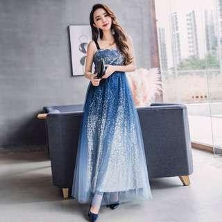 👭 BLUE SILVER OMBRE SEQUIN DRESS (RENTAL)