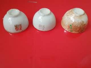 舊物---三隻小瓷碗