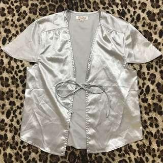 Satin tie top silver - Mooloola Label