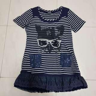 🚚 [CLEARANCE] Blue Striped Cat Long Top / Dress
