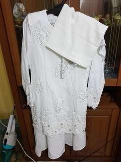 Baju nikah putih fullset with veil and tudung (scarf)