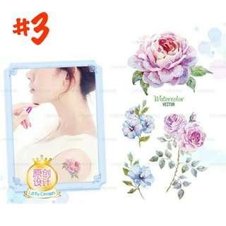 紋身貼紙 花草 玫瑰花 薔薇花 綠葉 花圈