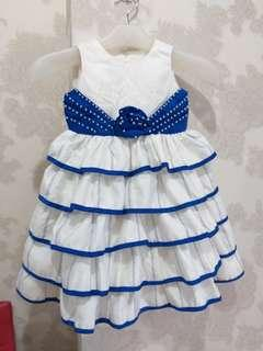 Dress party putih kombi biru ld