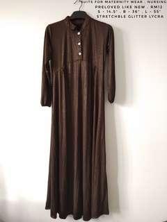 Brown glitter nursing jubah
