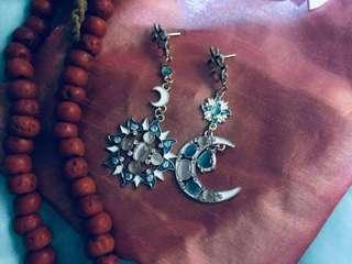😍MAJESTIC & STUNNING 🌞🌜 Diego Percossi Papi Styled Celestial Rhinestones Drop Earrings