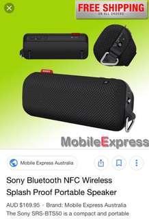 Sony Bluetooth NFC wireless splash proof portable speaker 輕身識得智能sense方向出聲,聲靚,防雨水,可以掛單車