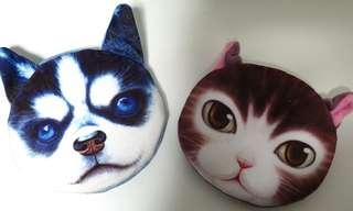 SALES! Blue dog, pink purple cat small coin pouch