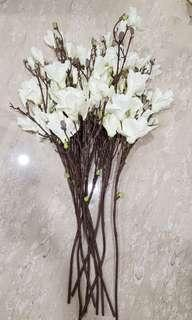 Faux magnolia flower white flower green bud branches branch similar to Crate and Barrel tall floor vase decor