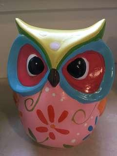 Set of colourful owls: 2xmoney boxes and 2x candles