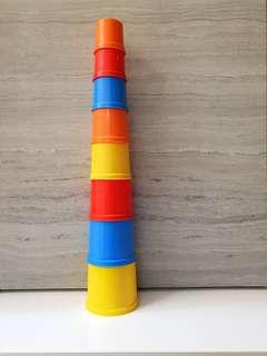 8 Folding/Building Stacking Up Block Cups Toy