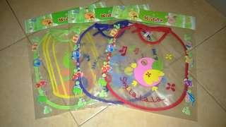 Slaber Plastik Kiddy Celemek Makan Bayi (3pcs)