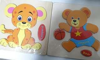 Leopard, bear jig saw puzzle educational toys kits