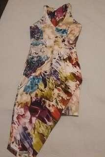 TALULAH asymmetrical floral print fitted dress