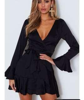 WHITE FOX BOUTIQUE black wrap mini dress