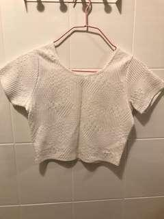Patterned white crop TOP