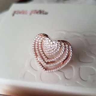 100%new Folli Follie Heart rose gold Ring 心型玫瑰金介指