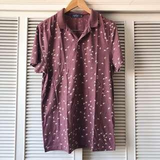 Topman Light Maroon Bird Print Shirt