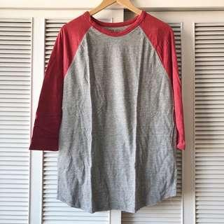 Forever 21 Men Grey and Red Long Sleeved Shirt