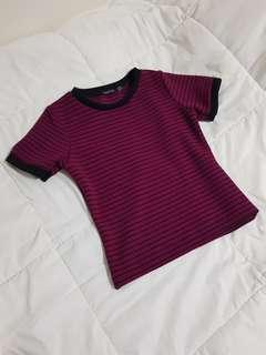 Dark Red Striped Shirt