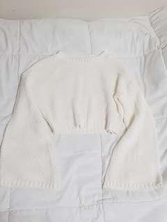 Bell-sleeved White Knit