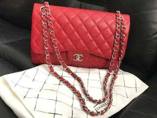 ❤️Deal!❤️Preloved Chanel Classic Jumbo flap Caviar Red Shw #19
