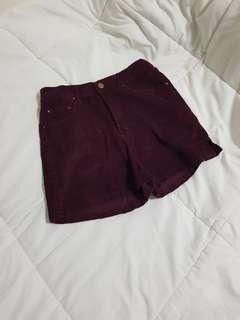 Burgundy Corduruoy Shorts
