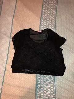 Supre Black lace/mesh  crop