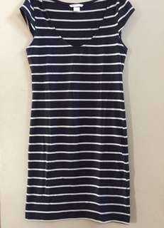 H&M navy stripe midi dress