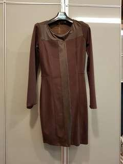 Shift dress with leather panel #jan50