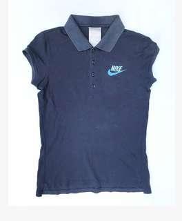 NIKE Womens Collared Polo Shirt  Dark Blue (Size Medium)