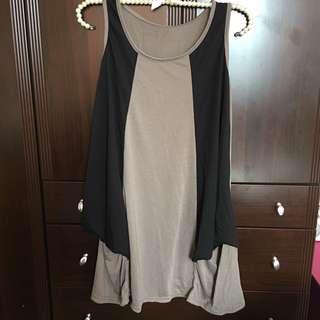 🚚 無袖長洋 不規則下擺 拼色 棉質 長版上衣 可換物