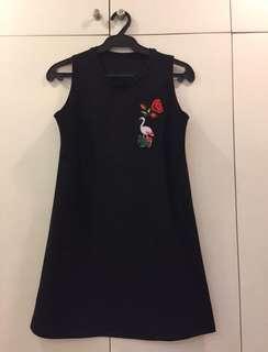 Floral Flamingo Patch Dress