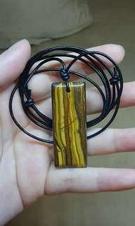 Tiger Iron Gemstone pendant necklace leather cord natural polished
