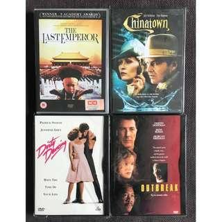 DVDs - Set of 4 (The Last Emperor / Chinatown / Dirty Dancing / Outbreak)