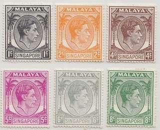 Singapore 1949 King George perf 18 complete set mh