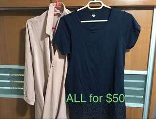 豆粉色雪紡上衣、深藍色lace上衣(可哺乳)(兩件)